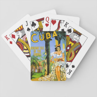 Cuba holiday isle of the tropics travel poster playing cards