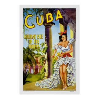 Cuba - Holiday Isle Vintage Travel Poster