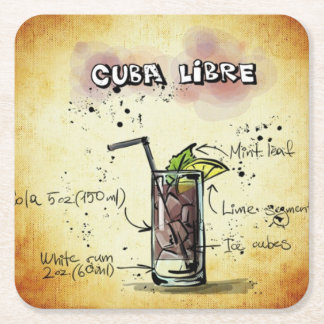 Cuba Libre Bartender Drink Recipe Square Paper Coaster