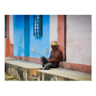 Cuba - Man on Porch Postcard