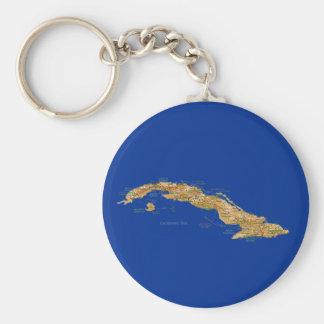 Cuba Map Keychain
