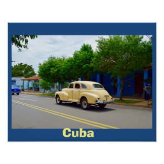 Cuba Old Yellow Car Cruises Colorful Street Poster