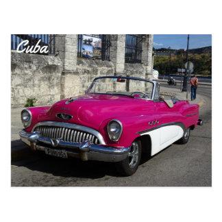 Cuba, Pink White Classic Car Postcard