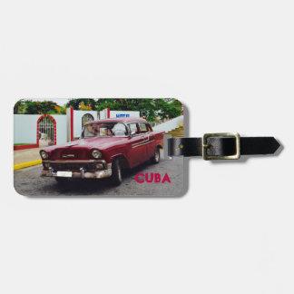 Cuba Vintage Car Maroon Luggage Tag