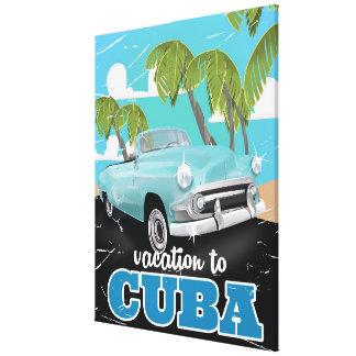 Cuba vintage car travel poster canvas print