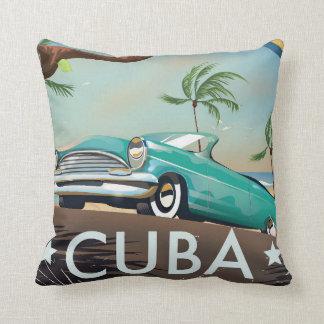 Cuba vintage retro Travel print Cushion