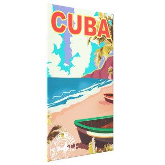 Cuba vintage travel poster canvas print