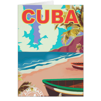 Cuba vintage travel poster card