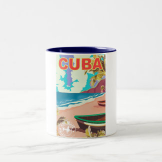 Cuba vintage travel poster Two-Tone coffee mug