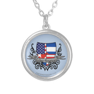Cuban-American Shield Flag Round Pendant Necklace