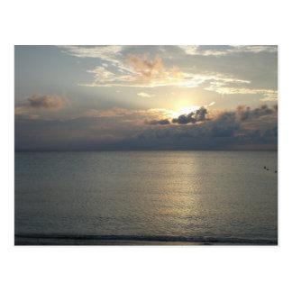 Cuban beach sunset postcard
