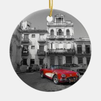 Cuban Cars 3 Ceramic Ornament