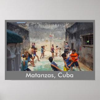 Cuban children water balloon fight poster