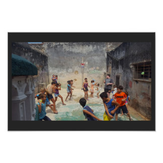 Cuban children with water balloons poster