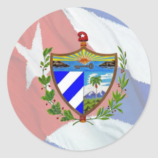 Cuban Coat of Arms on Cuban Flag Classic Round Sticker