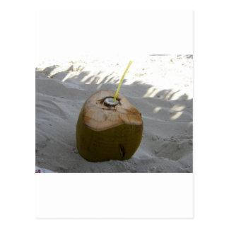 cuban coconut drink on the beach postcard
