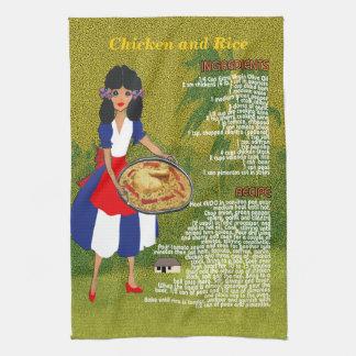 Cuban Cuisine Recipe Kitchen Towel-Chicken & Rice Tea Towel