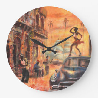 Cuban dances large clock