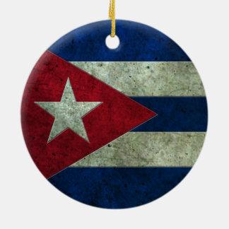 Cuban Flag Aged Steel Effect Ornament