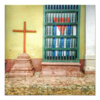 Cuban Flag and Catholic Cross in Trinidad Cuba Photo Print