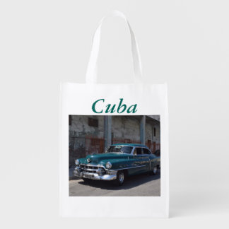 Cuban Flag Cuba Old Car Reusable Grocery Bag