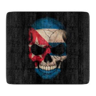 Cuban Flag Skull on Black Cutting Board