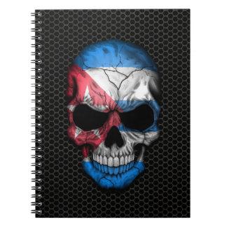 Cuban Flag Skull on Steel Mesh Graphic Notebooks