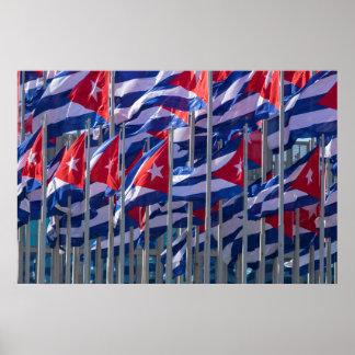 Cuban flags, Habana, Cuba Poster