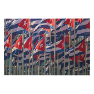 Cuban flags, Habana, Cuba Wood Canvas