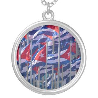 Cuban flags, Havana, Cuba Silver Plated Necklace