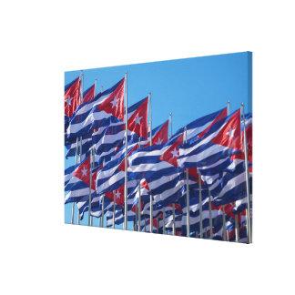 Cuban Flags Waving Canvas Print