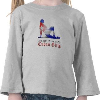Cuban Girl Silhouette Flag Tshirt