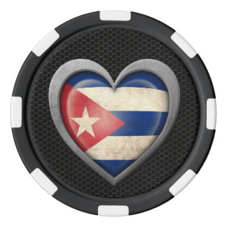 Cuban Heart Flag Steel Mesh Effect Poker Chips