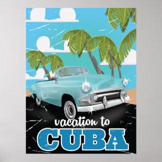 Cuban vintage car travel poster