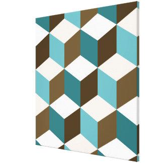 Cube Lg Ptn Teals Brown Cream & White Canvas Print