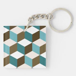 Cube Lg Ptn Teals Brown Cream & White Key Ring