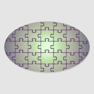 Cube perspective made of puzzles oval sticker