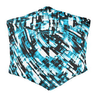 Cube Pouf Hot Blue Black abstract digitalart G253