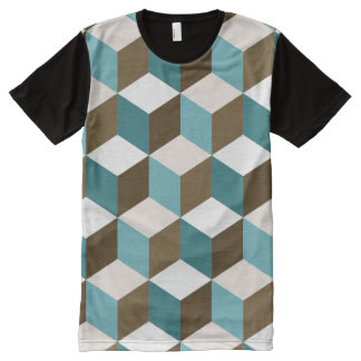 Cube Ptn Teals Brown Cream & White All-Over Print T-Shirt