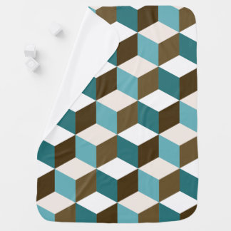 Cube Ptn Teals Brown Cream & White Baby Blanket