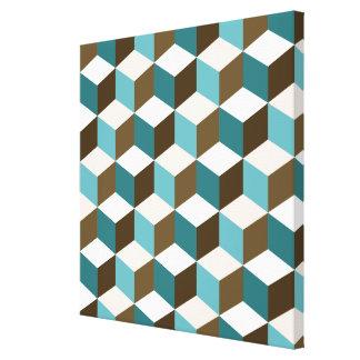 Cube Ptn Teals Brown Cream & White Canvas Print