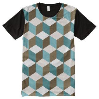Cube Rpt Ptn Teals Brown Cream & White All-Over Print T-Shirt