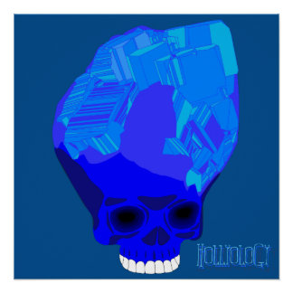Cube Skull Blue Poster