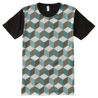 Cube Sml Ptn Teals Brown Cream & White All-Over Print T-Shirt