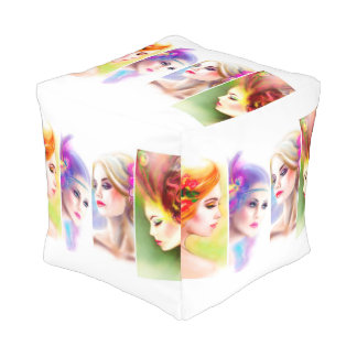 Cubed Pouf Woman Abstract