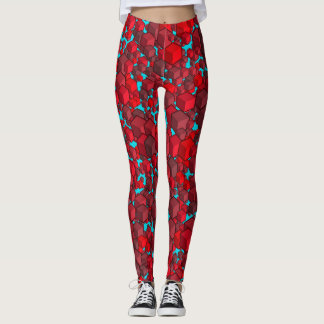 Cubes Reds and Blue Leggings