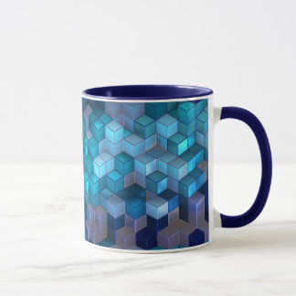 Cubic Design Combo Coffee Mug (Navy Blue) 11 oz