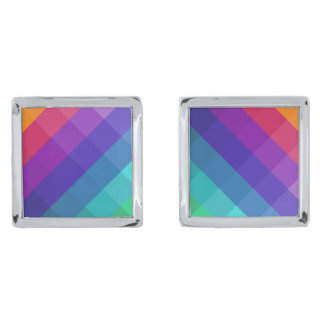 Cubical Colors Silver Finish Cufflinks