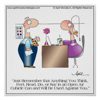 CUBICLE LOVE Cartoon Poster by April McCallum