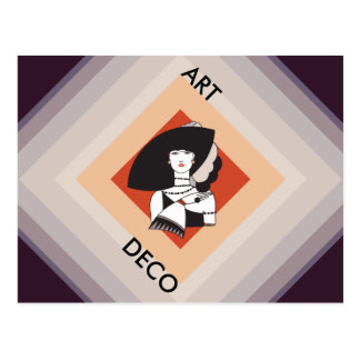 Cubism Motif Fashion Lady Postcard